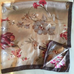 Vtg Adrienne Vittadini Silk Floral Square Scarf